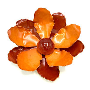 Vtg Metal 1960s Orange Red Flower Brooch 3.5""